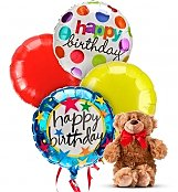 Birthday Balloons &Bear-4 Mylar